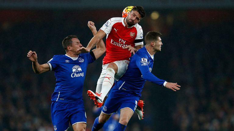 Olivier Giroud, Phil Jagielka and John Stones battle for the ball, Arsenal v Everton, Premier League