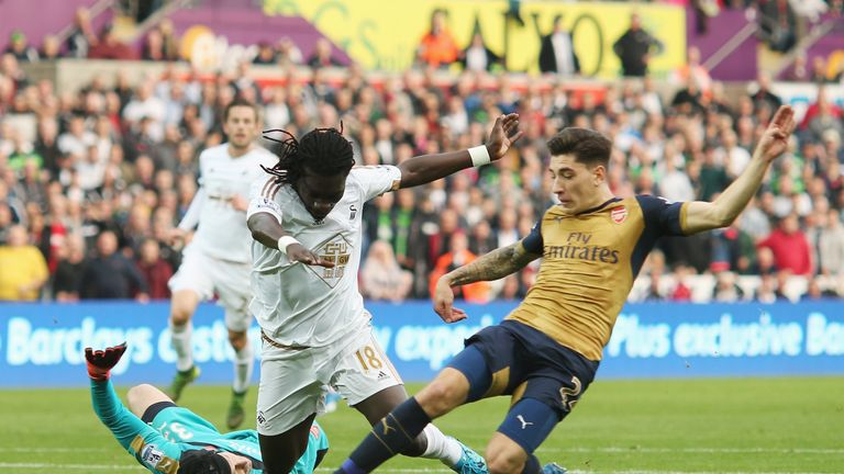 Bafetimbi Gomis could have given Swansea the lead but he was denied by an excellent Hector Bellerin tackle