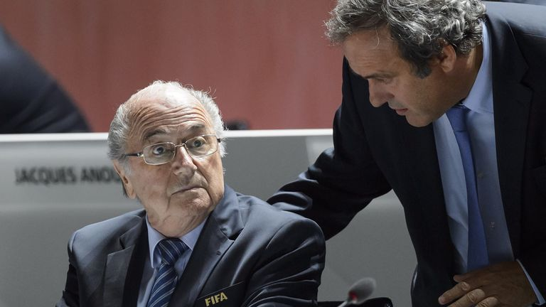 Sepp Blatter (left) and Michel Platini exchanging ideas in Zurich last May