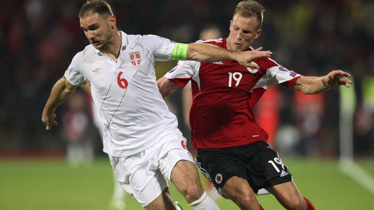 Branislav Ivanovic was substituted in the second half for Serbia against Albania