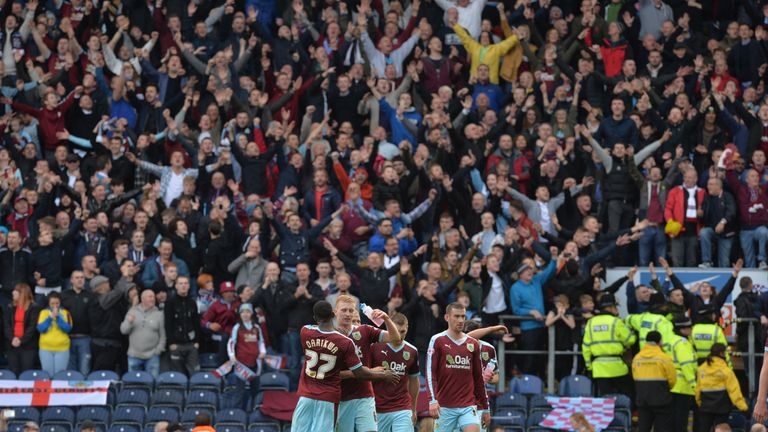 Burnley players celebrate their victory after the Sky Bet Championship match at Ewood Park, Blackburn