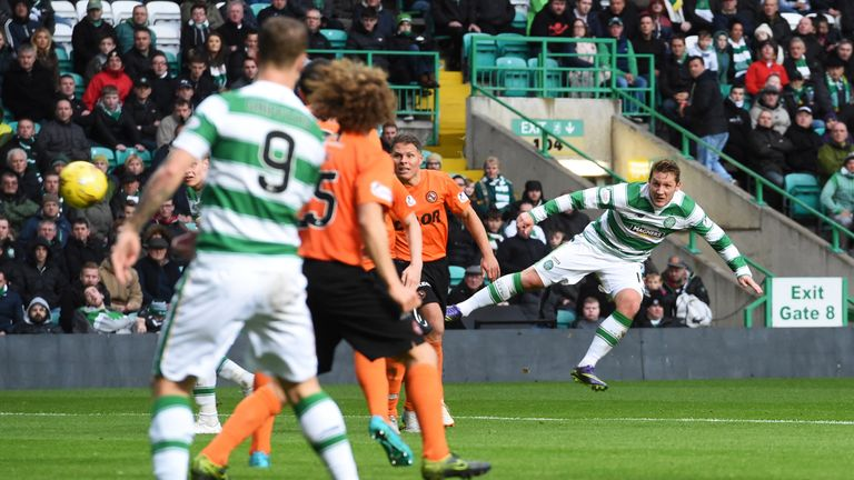 Commons fires home his side's fourth goal of the game with a fine effort