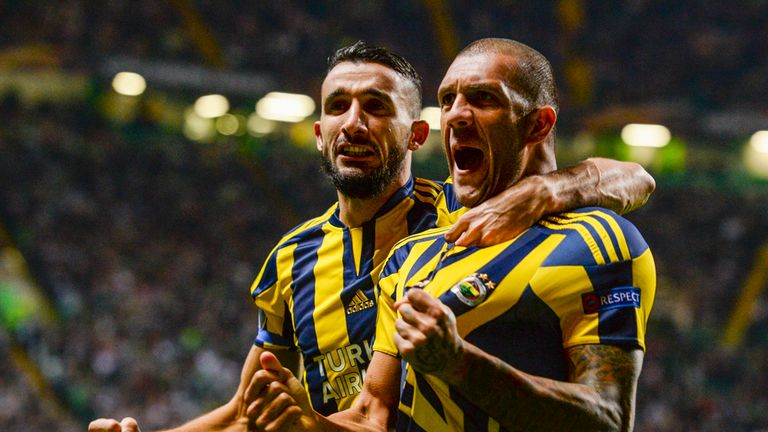 Fenerbache's Fernandao celebrates at Celtic Park