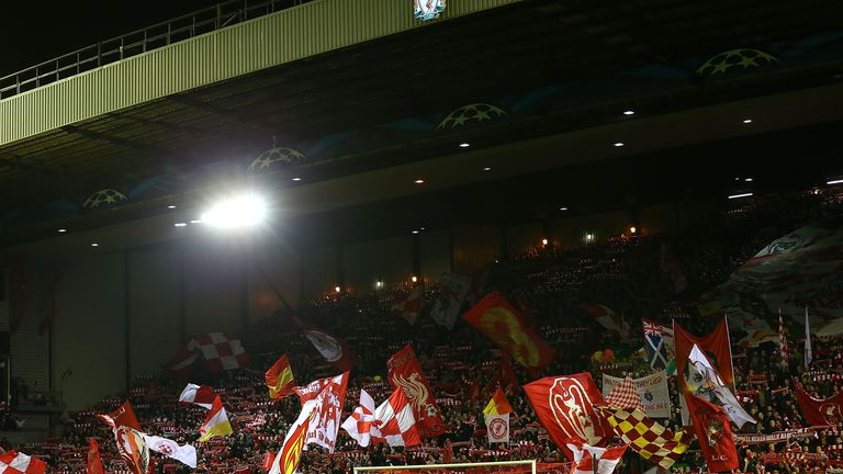 General View of the Kop prior to the UEFA Champions League Group B match between Liverpool and Real Madrid CF
