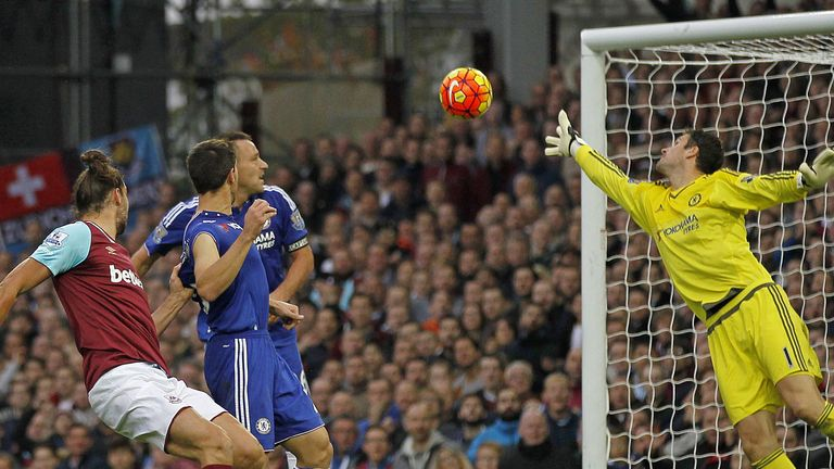 Andy Carroll (left) scores West Ham's winner against Chelsea on Saturday