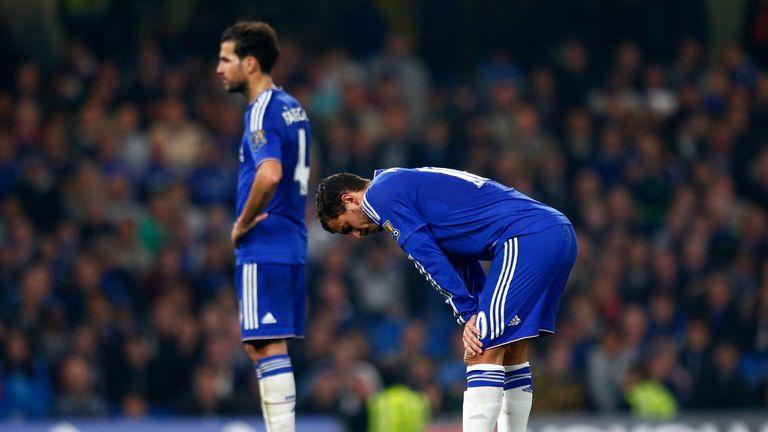 Eden Hazard and Cesc Fabregas show their dejection against Southampton