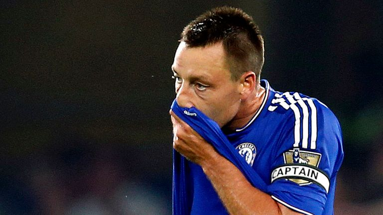 Chelsea's John Terry stands dejected after they concede a goal during the Barclays Premier League match at Stamford Bridge, London.