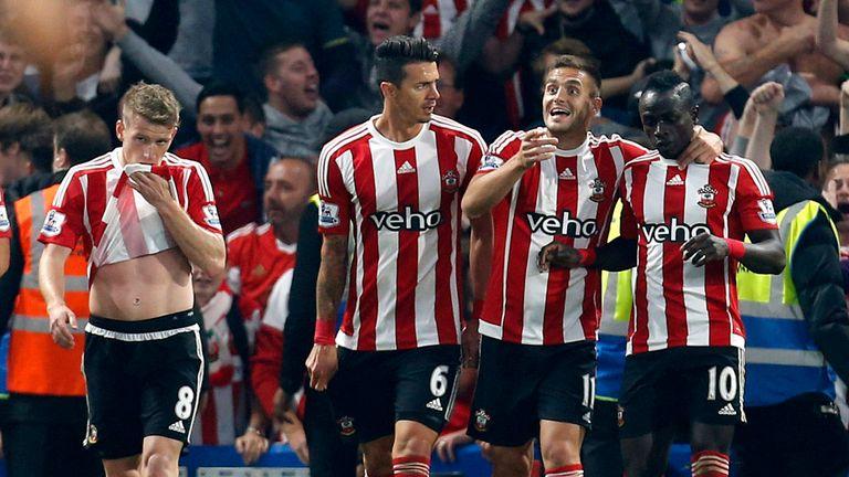 Southampton's Sadio Mane (right) celebrates scoring his side's second goal of the game