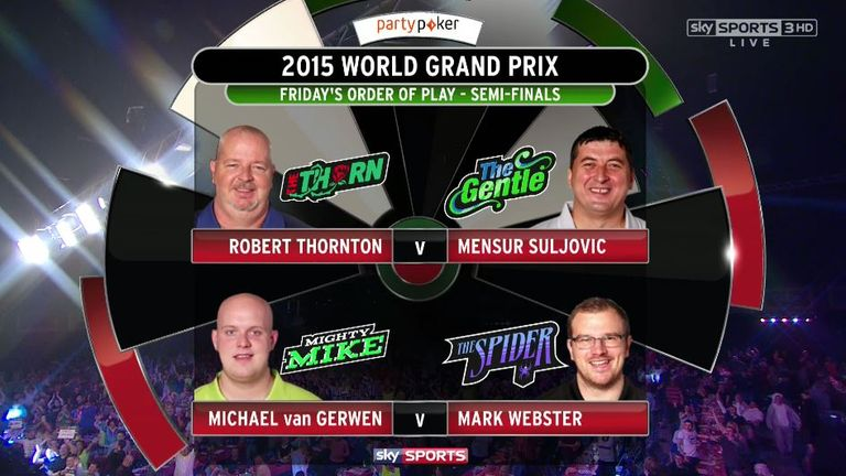 World Grand Prix semi-final line-up on Friday - live on Sky Sports 1 HD