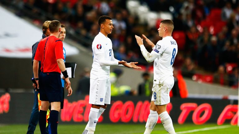 Substitute Dele Alli of England (20) replaces Ross Barkley of England during the UEFA EURO 2016 Group E qualifying match be