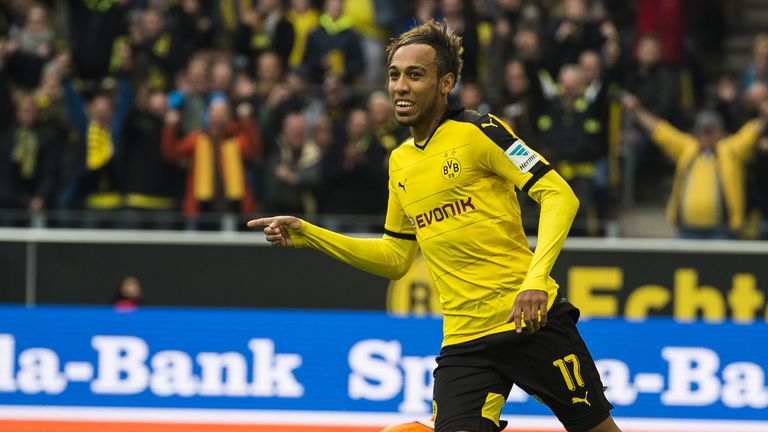 Dortmund's  Pierre-Emerick Aubameyang celebrates after scoring