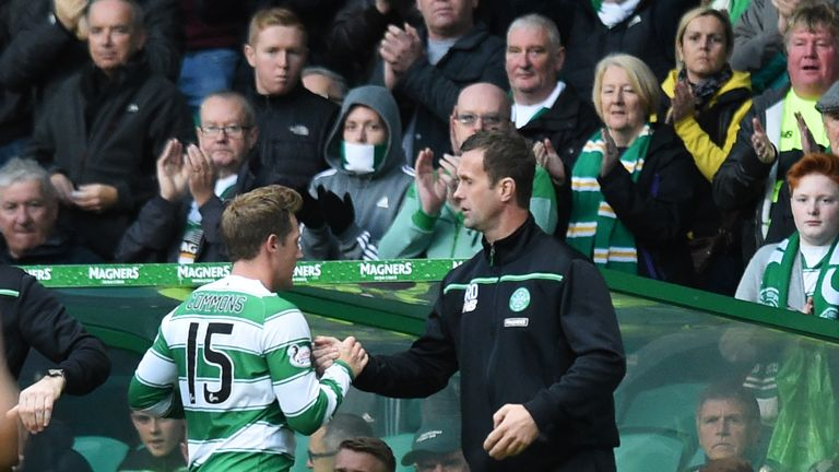 Kris Commons (left) was much happier when he came off in Celtic's win over Dundee United than he was in Norway