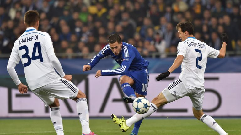 Eden Hazard (middle) hit the post early on for Chelsea