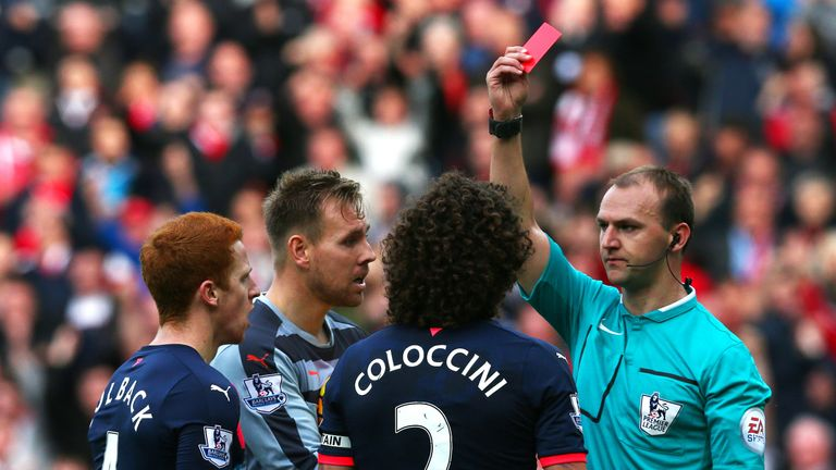 Fabricio Coloccini of Newcastle is sent off as his side lost 3-0.