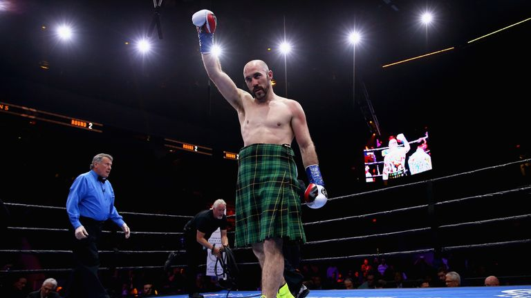 BOSTON, MA - MAY 23: Gary O'Sullivan celebrates his win over Melvin Betancourt after their middleweight fight at Agganis Arena at Boston University on May