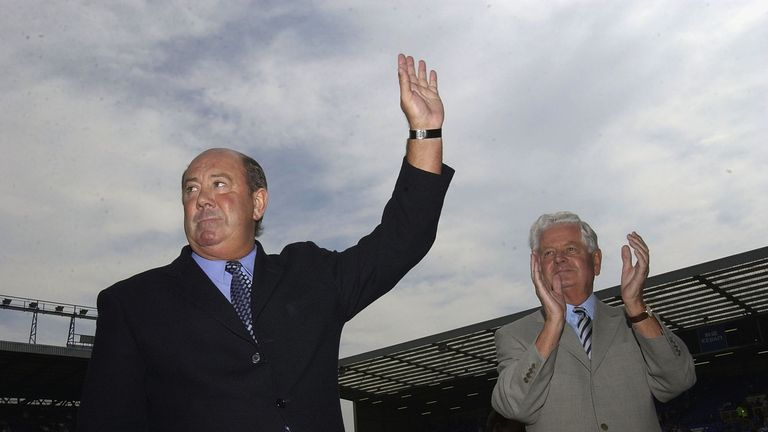 Howard Kendall and chaiman Sir Philip Carter before  Everton v Tottenham in 1992