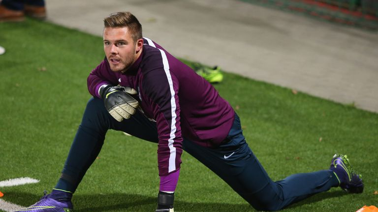 Jack Butland played in England's 3-0 win over Lithuania