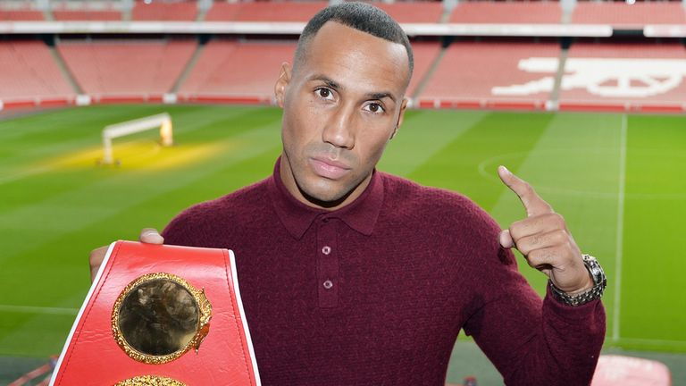 James Degale poses for a picture after a press conference at the Emirates Stadium, London.