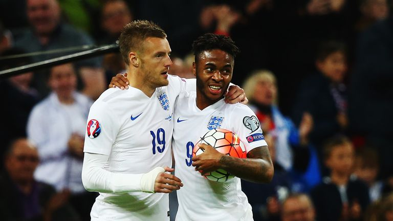Jamie Vardy (left) set up Raheem Sterling's goal agaisnt Estonia on Friday and starts in Lithuania