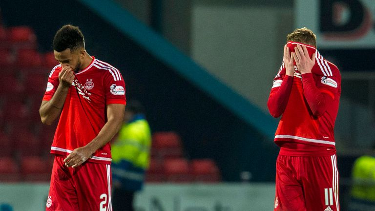 Dejection for Aberdeen's Jonny Hayes (right) and Shay Logan