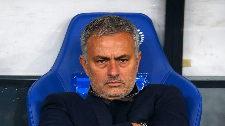 Jose Mourinho of Chelsea looks on