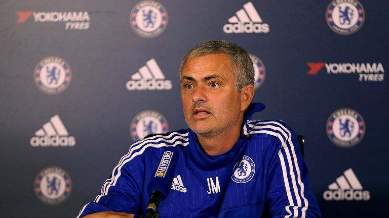 Chelsea manager Jose Mourinho talks during his press conference