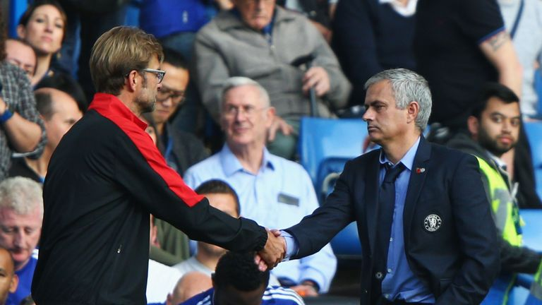 LONDON, ENGLAND - OCTOBER 31: Jurgen Klopp, manager of Liverpool and Jose Mourinho Manager of Chelsea shake hands after the Barclays Premier League match b