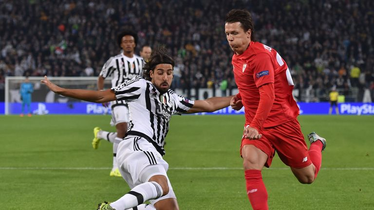Yevhen Konoplyanka of Sevilla cayuses havoc in the Juventus defence in the Champions League