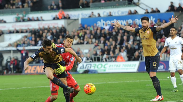Laurent Koscielny scored Arsenal's second but Swansea felt Lukasz Fabianski was fouled beforehand