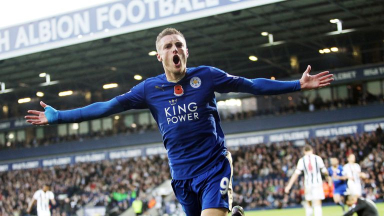 Leicester's Jamie Vardy is looking to score for the ninth straight Premier League game