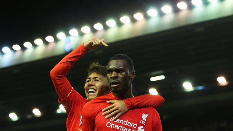 Christian Benteke of Liverpool celebrates scoring his team's first goal against Southampton