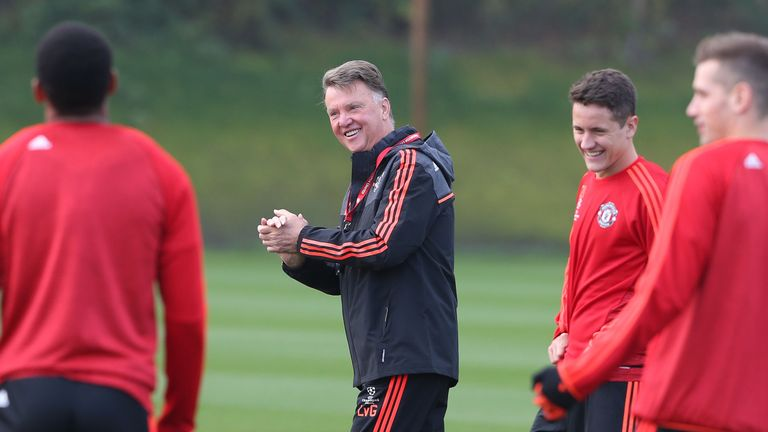 Louis van Gaal keeping his players happy in training ahead of Sunday's derby