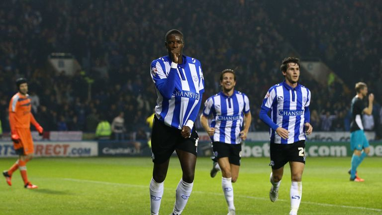 Lucas Joao celebrates after putting Sheffield Wednesday 2-0 up against Arsenal