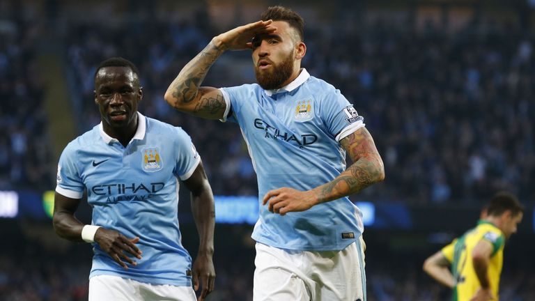 Manchester City's Nicolas Otamendi puts Man City 1-0 up against Norwich