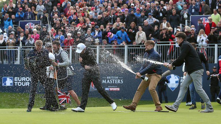 The celebrations began on the 18th green soon after  Matt Fitzpatrick's winning putt.