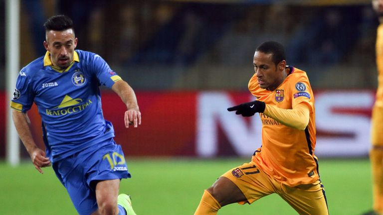 Neymar, in action here against BATE Borisov in the Champions League set up both of Rakitic's goals on Tuesday