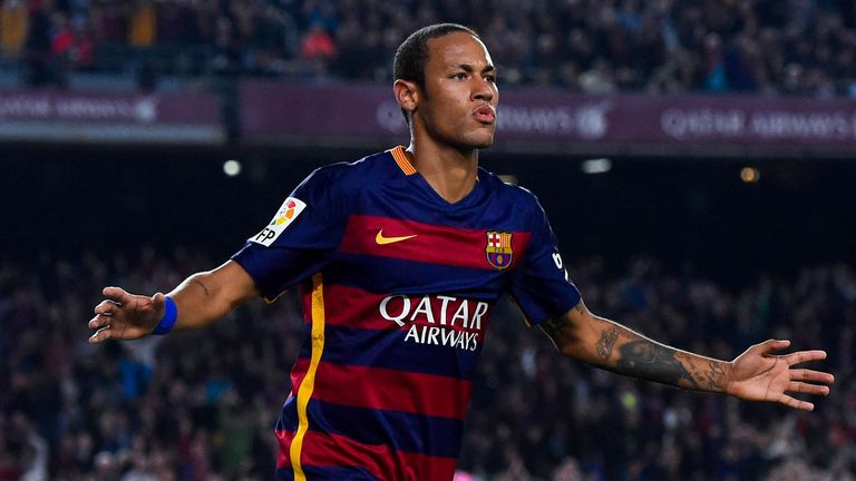 Neymar of FC Barcelona celebrates after scoring his team's third goal