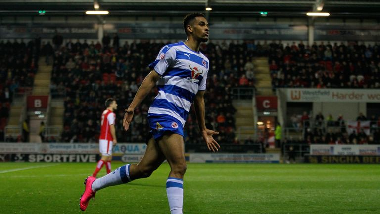 Reading's Nick Blackman celebrates the opening goal during the Sky Bet League Championship match at the New York Stadium, Rotherham.
