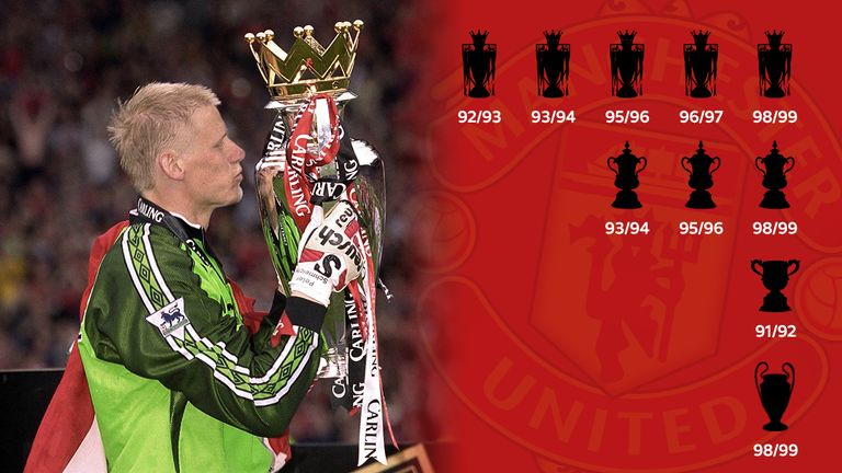 Peter Schmeichel lifted ten trophies during his time at Manchester United, including five Premier League titles and the Champions League in 1999