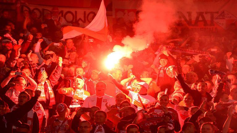 Flares let off during Scotland's Euro 2016 qualifier against Poland at Hampden Park