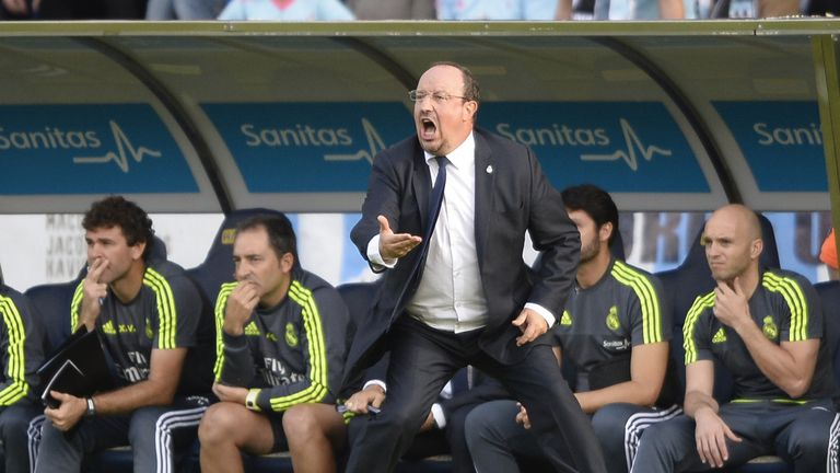 Real Madrid's coach Rafael Benitez shouts from the sideline