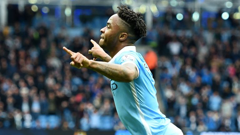 Manchester City's Raheem Sterling celebrates scoring his side's fourth goal of the game and completing his hat-trick