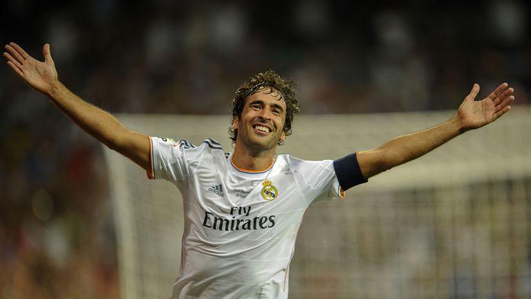 Real Madrid's forward Raul celebrates after scoring during the Santiago Bernabeu trophy football match Real Madrid vs Al-Sadd SC at the Santiago Bernabeu