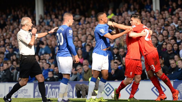 Tempers flared in the first half at Goodison Park