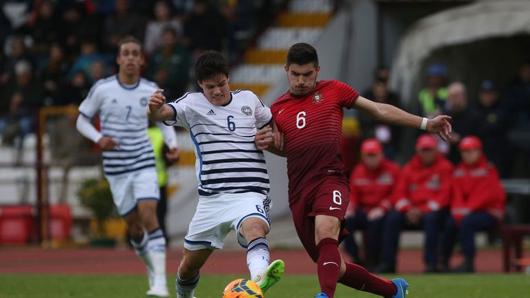 Portugal's midfielder Ruben Neves with Denmark's midfielder Christian Norgaard during the U21 International Friendly