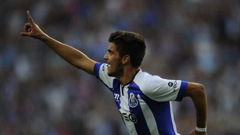 Porto's midfielder Ruben Neves celebrates after scoring during the Portuguese league football match FC Porto vs Maritimo at the Dragao Stadium in Porto on