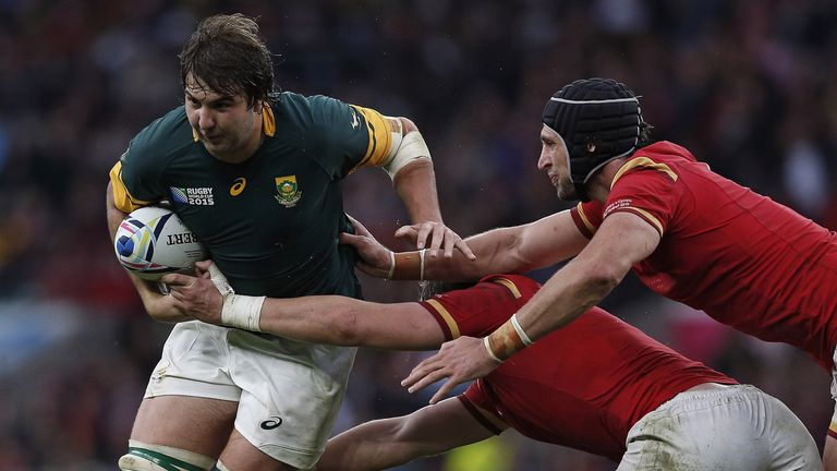 Lood de Jager takes on the Welsh defence