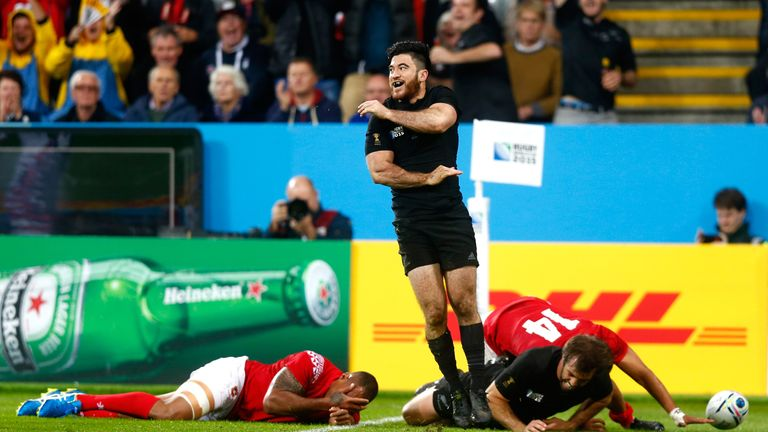 Nehe Milner-Skudder celebrates after touching down for his second try