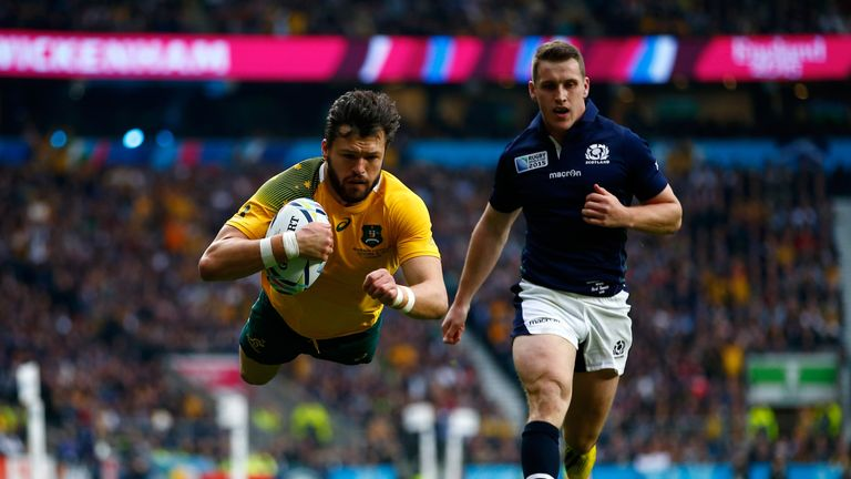 Adam Ashley-Cooper scores the opening try of the quarter-final clash