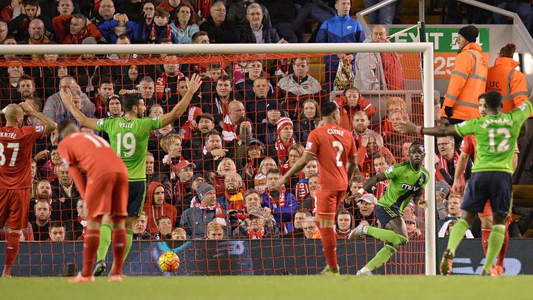 Southampton's  Sadio Mane (3rd R) scored the equaliser at Anfield